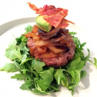Burger With Maple Onions, Peppered Mushrooms, Bacon + Avocado