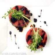 Watermelon with Pepita Pesto + Balsamic Reduction