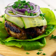 Lamb Burger With Cucumber + Lemon Tahini Sauce