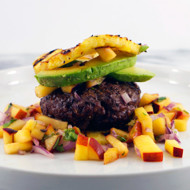 Pineapple Bun Burger With Peach Salsa