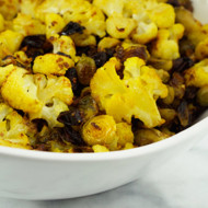 Turmeric Roasted Cauliflower with Brussel Sprouts and Dates