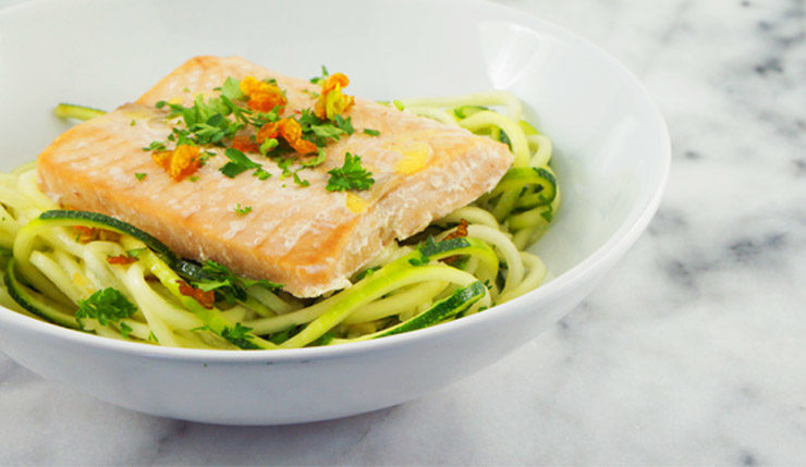 Salmon with Lemon Garlic Zoodles and Crispy Squash Blossoms