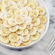 Banana Slices With Maple Syrup + Coconut