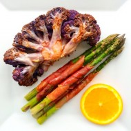 Cauliflower Steak With Prosciutto Wrapped Asparagus