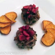 Kale Garlic Sliders with Maple Onions + Cherries