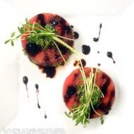 Watermelon with Pepita Pesto + Balsamic Reduction