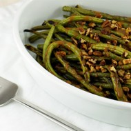 Grilled Green Beans With Dijon Balsamic Drizzle + Toasted Pecans