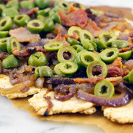 Caramelized Onion, Green Olive + Bacon Pizza