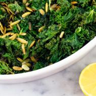 Roasted Kale With Pepitas, Garlic + Lemon