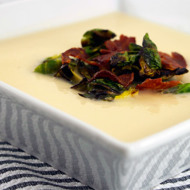 Smoked Cauliflower Soup With Brussel Sprouts + Bacon